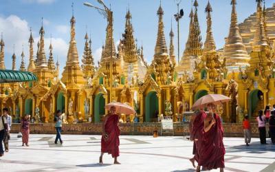 the monks at Shwe dagon Pagoda - Yangon
